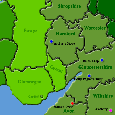 Map Of Southern England And Wales.Stones In Fields Map Of South Wales And South West England